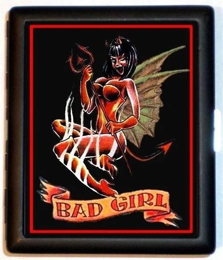 Winged Devil Girl Tattoo BAD Girl Riot Punk Black Metal Cigarette or ID or
