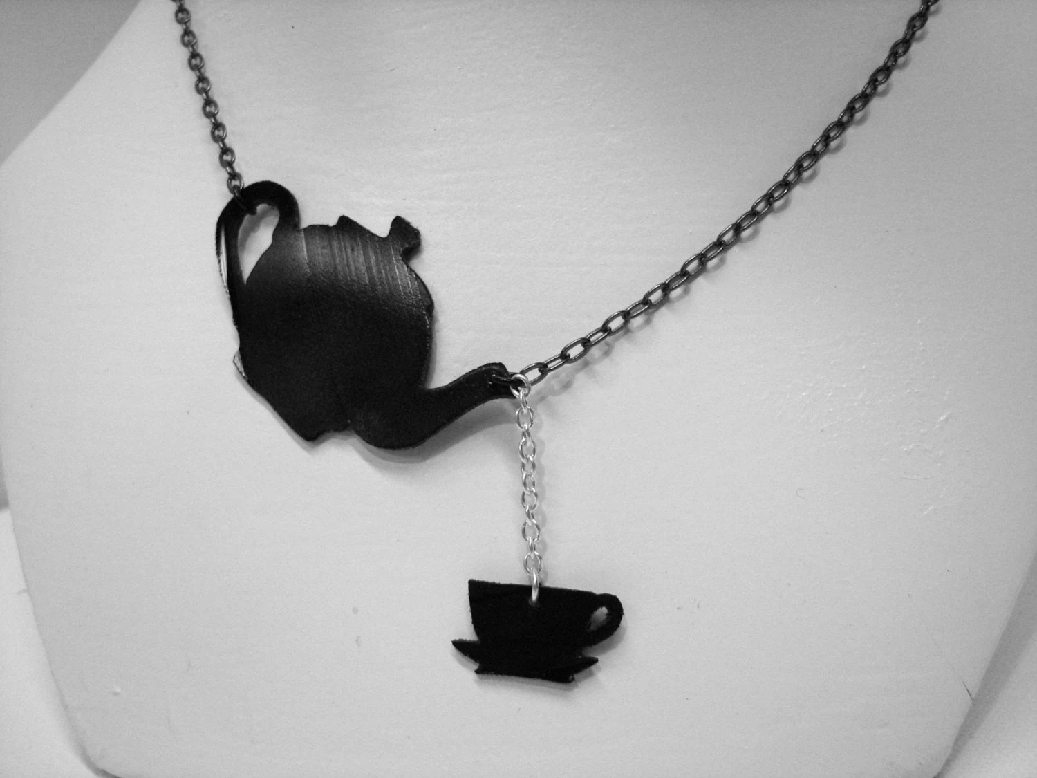 Tea Time Silhouette Recycled Vinyl Necklace by RandomPerfect
