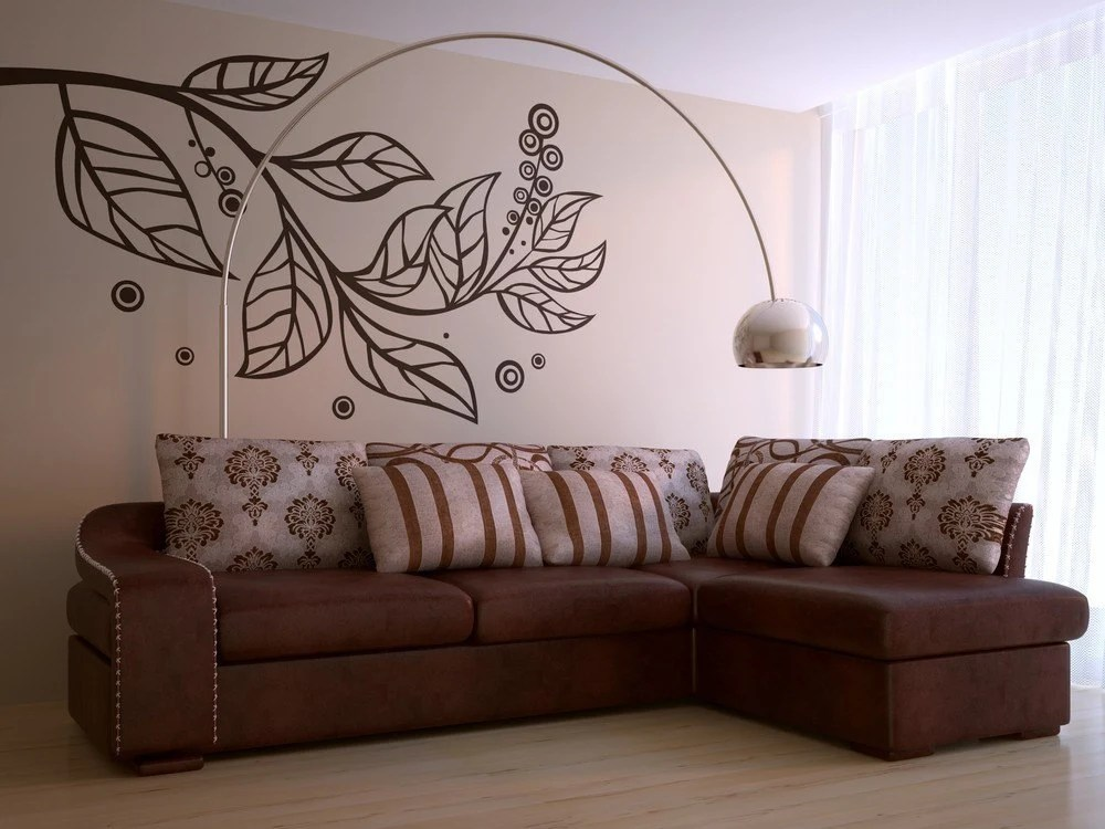 Vinyl wall art decals -- Large Leafy Branch Wall Decal (Mini Sized) -- Easy Installation