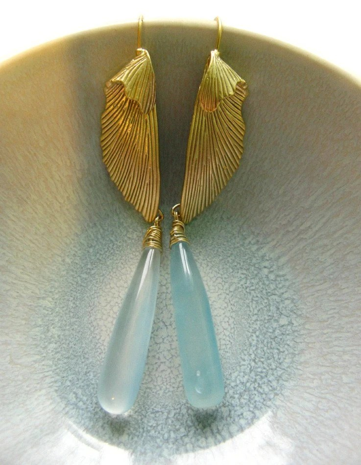 Icarian Wings - Elegant, Extraordinary Chalcedony Earrings