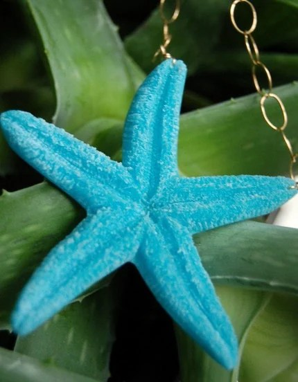 Turquoise Resin Starfish Belly Necklace