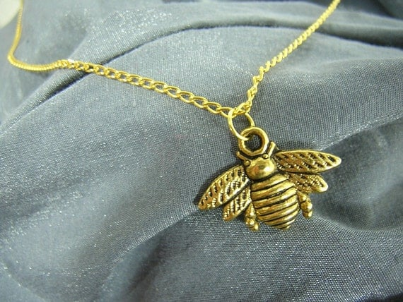 Golden Bumblebee on Gold Chain Simple Charm Necklace by Rewondered