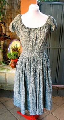 Vintage 1940s Cotton Peasant Day Dress - M/L