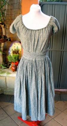 Vintage 1940s Cotton Peasant Day Dress - M/L