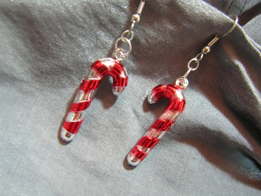 Candy Cane Christmas Ornament Earrings - Handmade by Rewondered D225E-55516 - $9.95