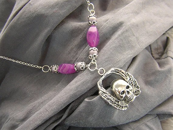 Purple and Silver Skull with Wings Charm and Beaded Necklace Handmade by Rewondered