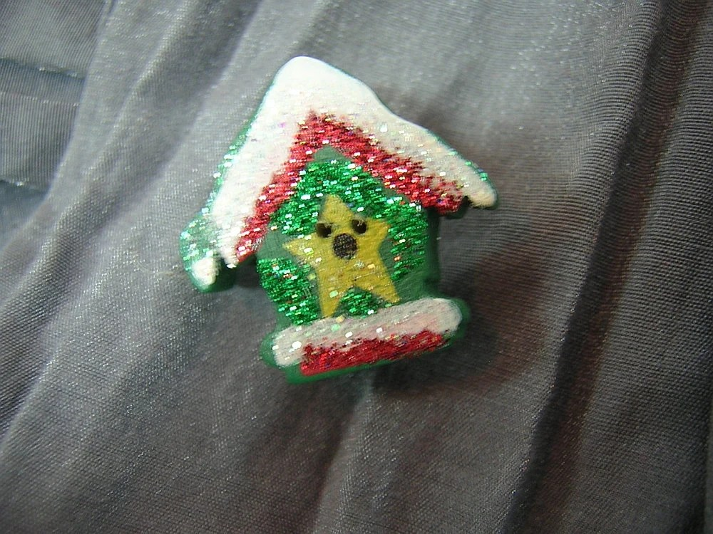 Green Birdhouse with Yellow Star, Red Trim and Snow Pin by Rewondered D225P-00007 - $4.95
