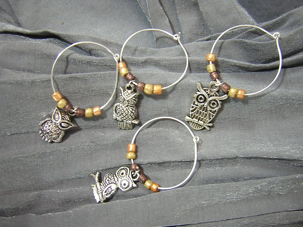 Owl Wine Charm Set of Four Wine Glass Markers by Rewondered D643W-00001 - $14.95