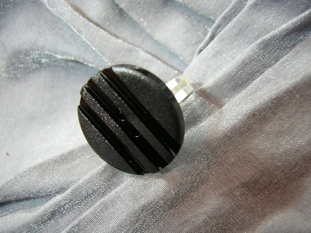 Black Striped Button Ring with Adjustable Band by Rewondered D225R-00003 - $4.95