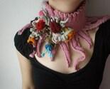 Elan - Rosa ... Knitted Neckwarmer / Scarflette -  Dusty Rose Pink - Colorful Flowers