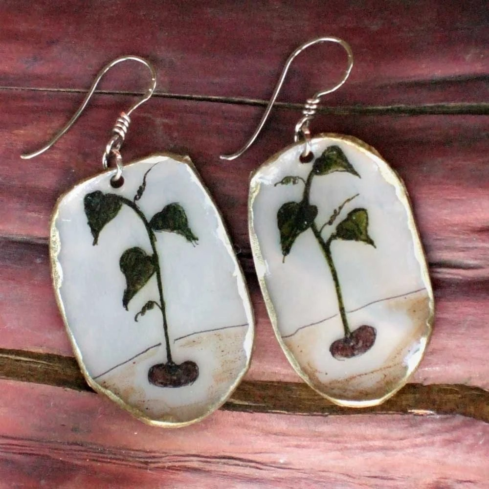 small oval sprout earrings