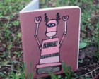 Track Robot Journal - Sketch Book - Handmade - Left and Right Handed Reversible, 100 Percent Post Consumer Recycled Paper