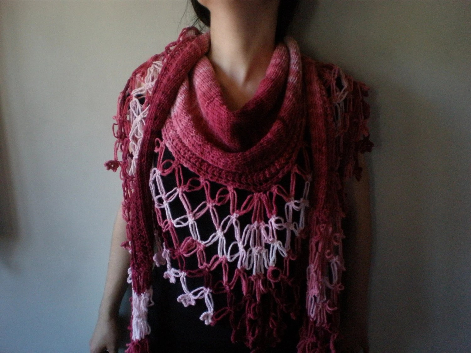 Presence - Cherry ... Knitted / Crocheted Shawl / Scarf