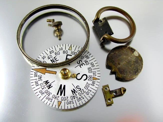 Destash Lot Broken Antique Compass GREAT DIAL for Repurpose Steampunk Altered Art Jewelry and Scrapbooking Craft Projects