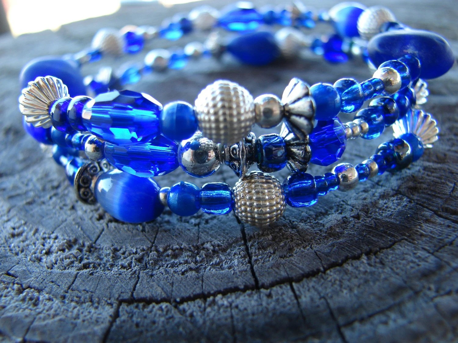 Royal Blue Memory Wire Bracelet