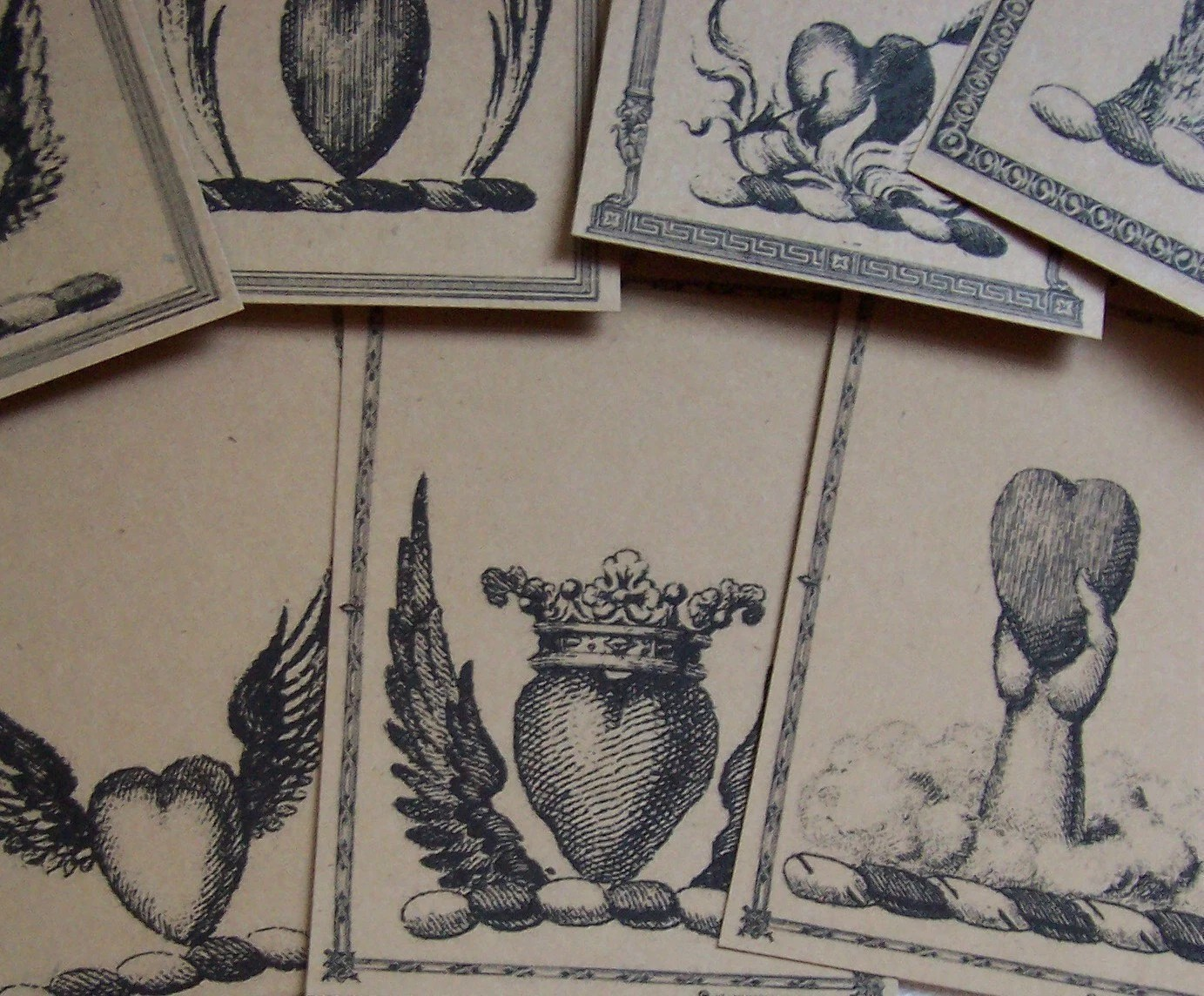 Victorian Hearts, Crowns and Images of Love Brown Kraft Gift Tags