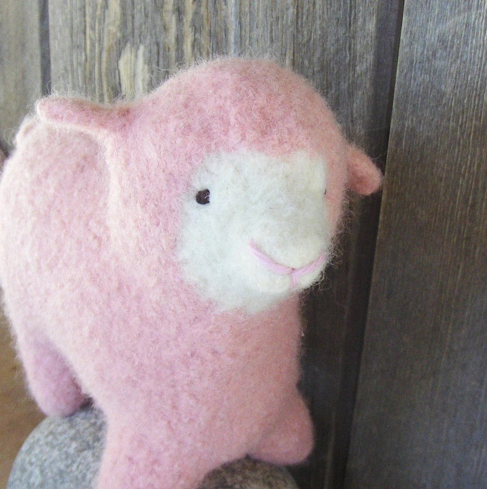 Sheep of a different color, PINK, Knitted and Felted, Eco-Friendly, All Natural