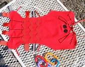 Maine Lobster Ribbon Tag Blankie Blanket Lovey Lovie Baby Gift in Red and Black