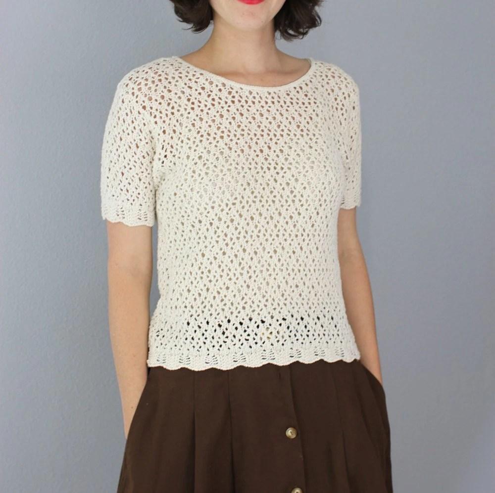 vintage 1980's soft COTTON CROCHET blouse