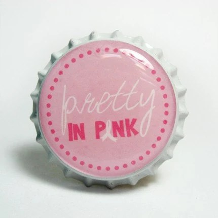 Pretty In Pink Breast Cancer Awareness Bottle Cap Pendant