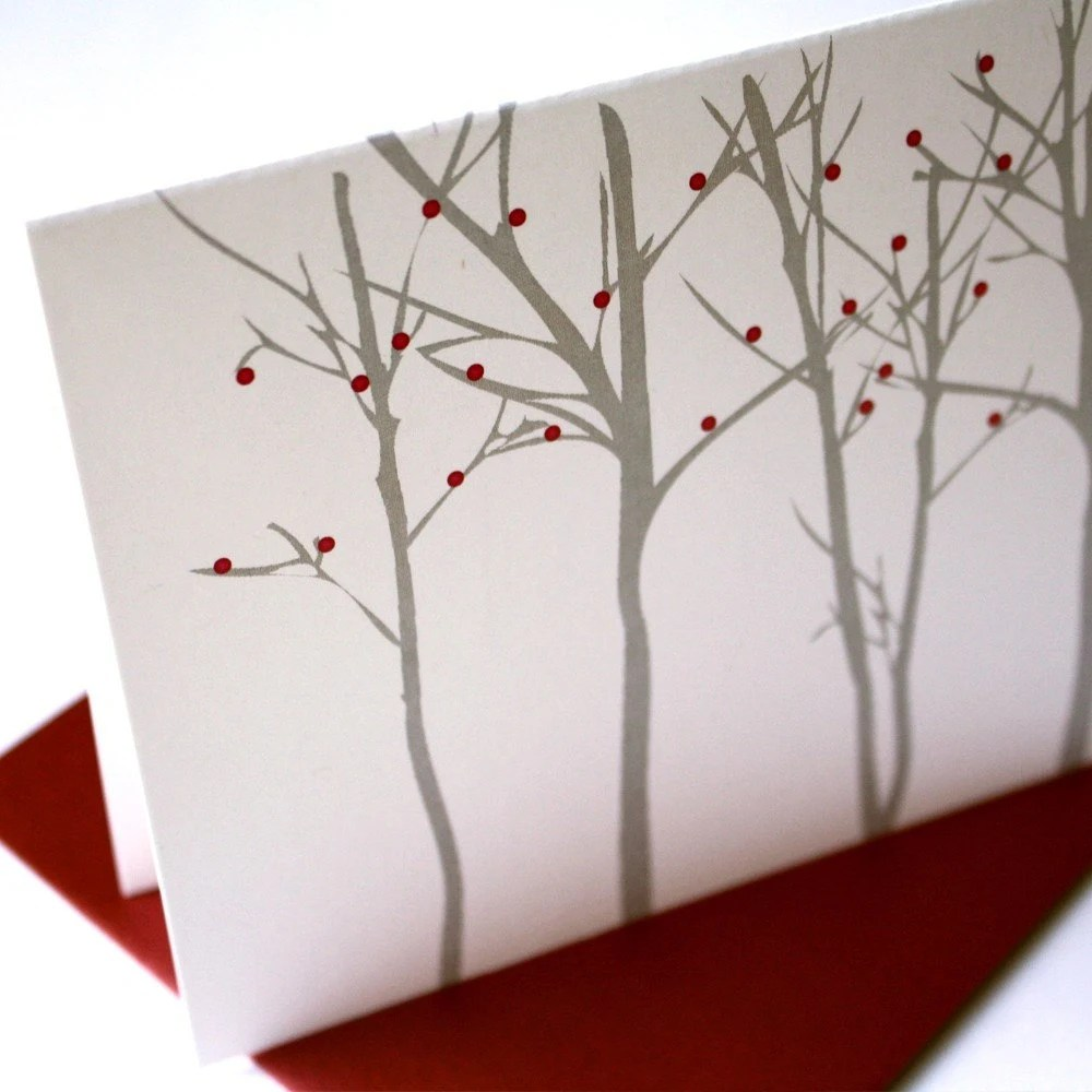 Silhouette Forest - Red Berries - Card set of 48 - SAVE 10 PERCENT