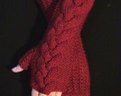 Dark Red Cabled Fingerless Gloves/ Wrist Warmers, Extra Long and Soft