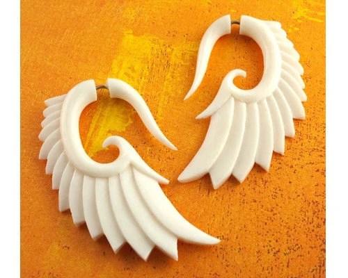 Nava Wings - Organic Fake Gauges Bone Earrings