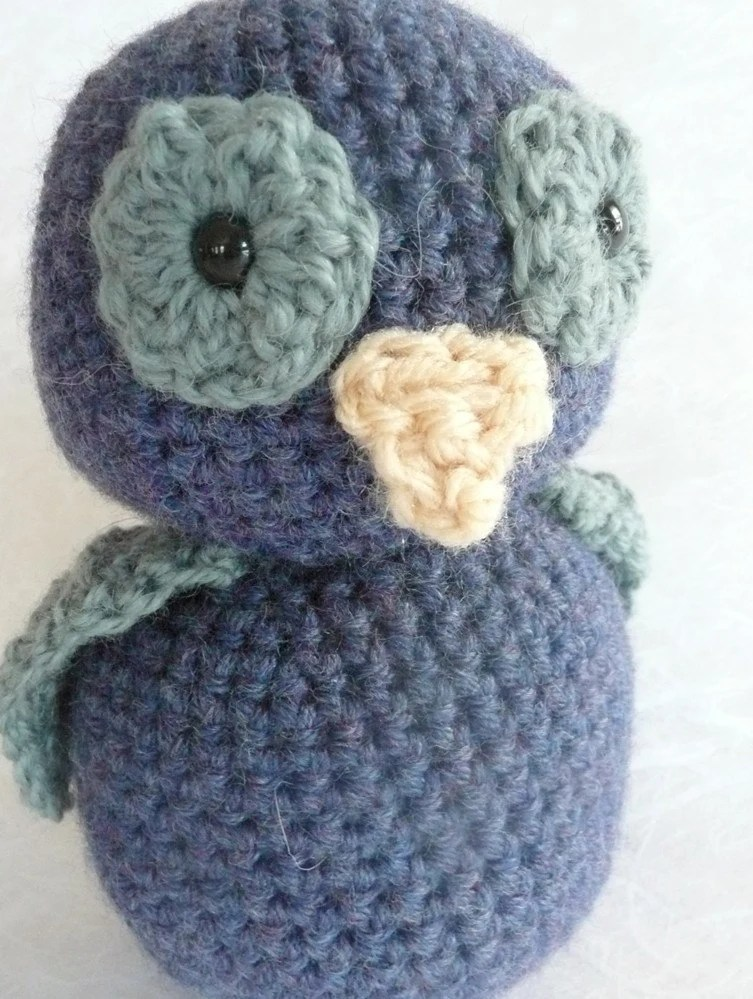 "Blue crochet owl bird - 6"" tall"