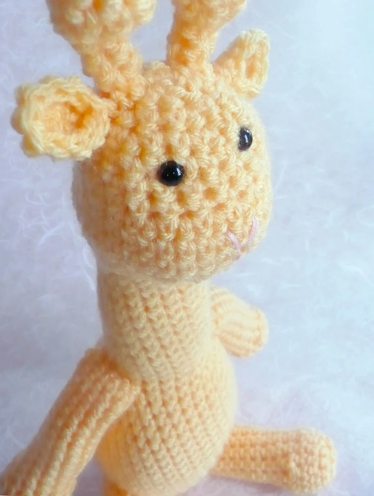 "Yellow crochet giraffe - 14"" tall"