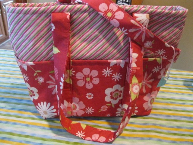 Beautiful Spring and Summer Purse - Pink - Stripes and Flowers - Large Purse - Lots of Pockets