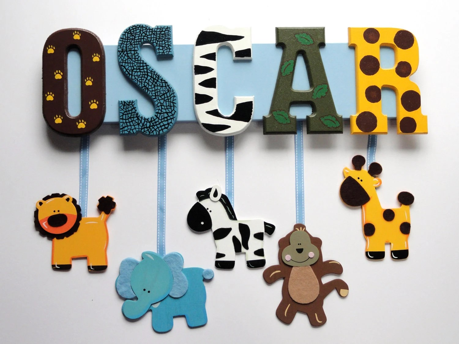 Zoo Animal Name Sign (5 Letters) - Custom Hand Painted Wood Letters on a Personalized Wall Hanging for Nursery or Child's Bedroom