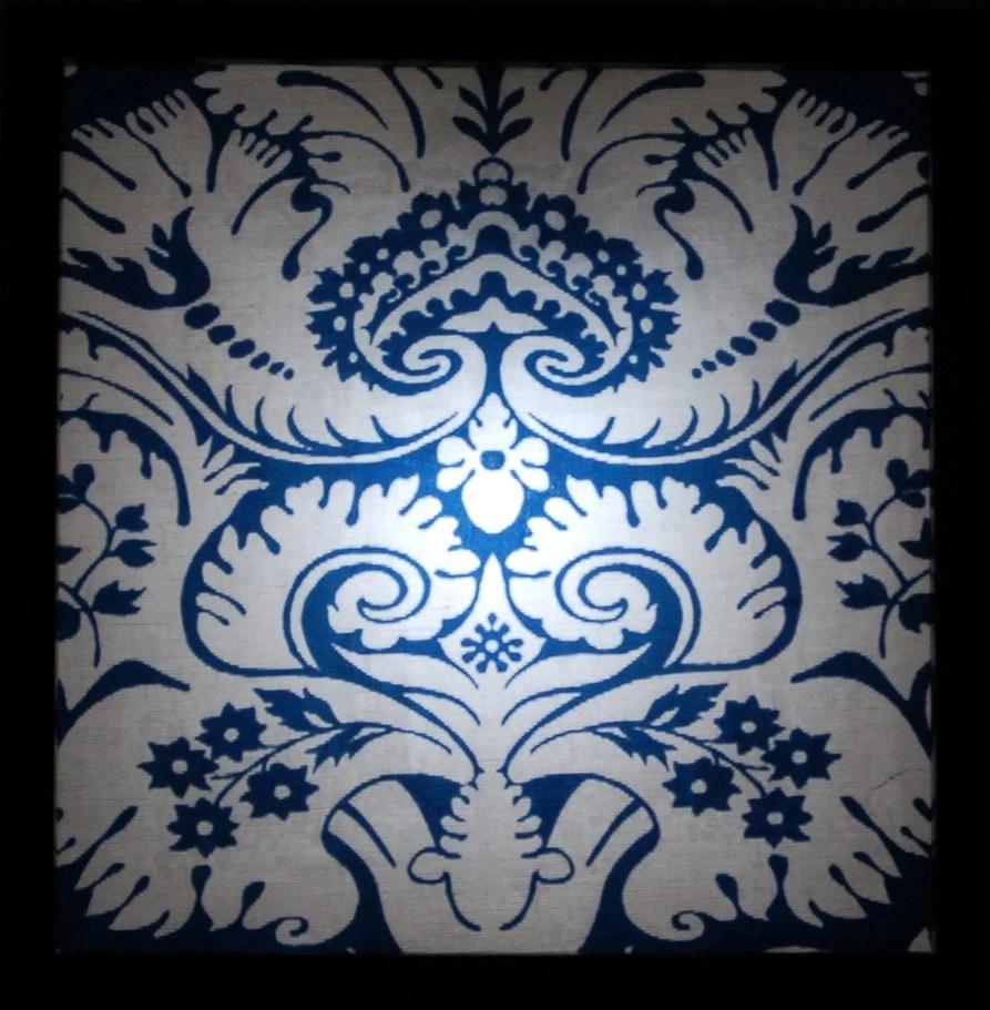 Gooseberry Light Boxes-Lightbox, Light box-Original Art-Blue and White Damask Fabric