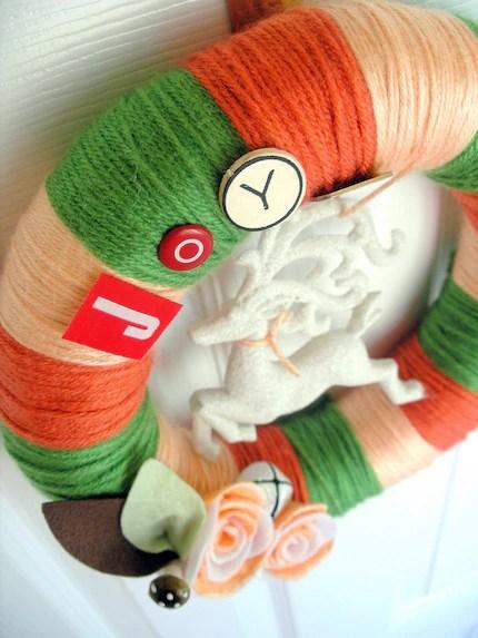 Joyful Creamsicle Yarn Wreath