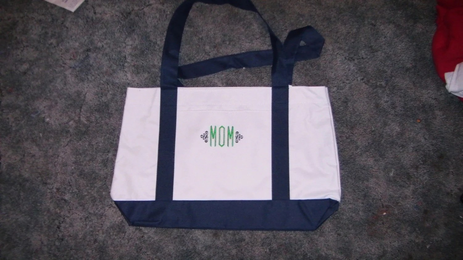 Monogrammed MOM Embroidered Canvas Tote Bag 18 x 5x 12