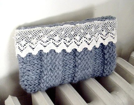 Hand Knitted Heather Gray and Vintage French Lace Clutch