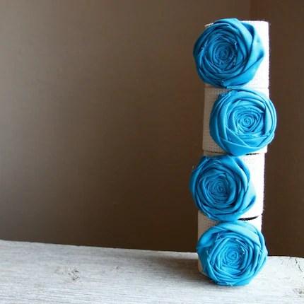 Turquoise Rosette Napkin Rings set of 4