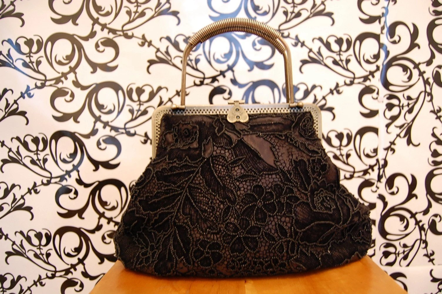 Vintage Beaded Fomal Black Handbag