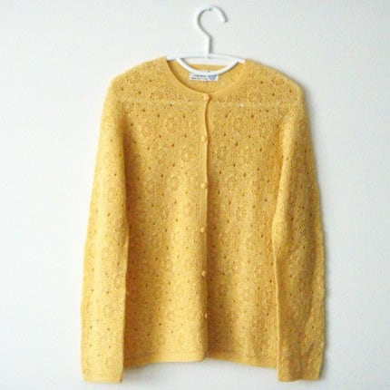 Sunny Yellow Crocheted Cardigan