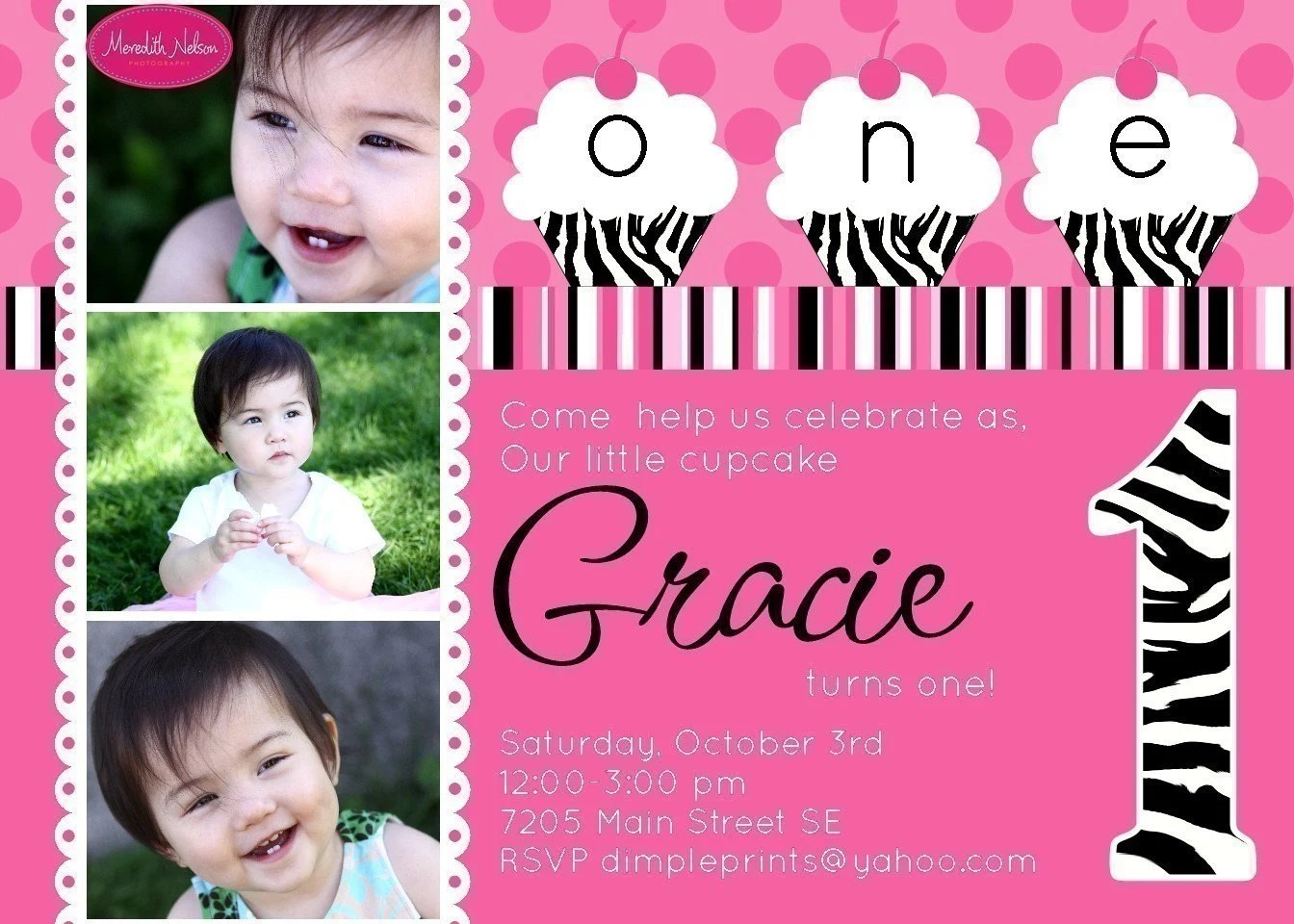 Custom You Print Digital Photo Birthday Invitation.Sweetest Wild Thing