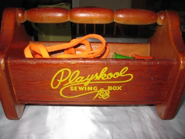Vintage Playskool Sewing Box All Wood with Wood Thread Spools 1940s
