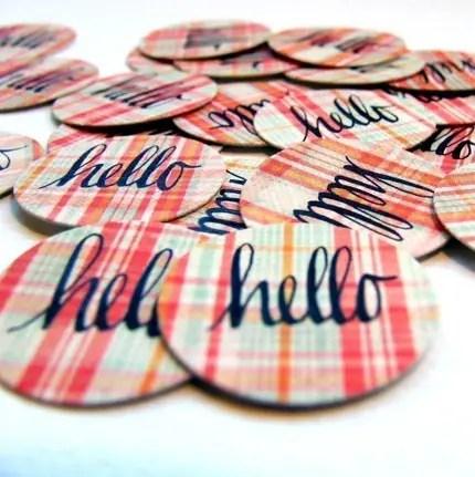 hello hand lettered envelope seals (20 total)