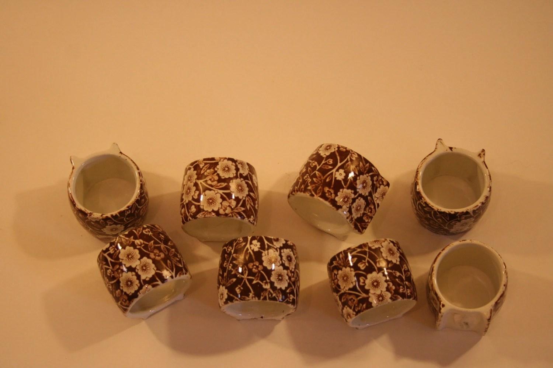 Set of 8 Antique Chintz Napkin Rings