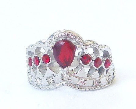 Beautiful Stainless Steel Proms Queen Princess Tiara CZ Crown Ring