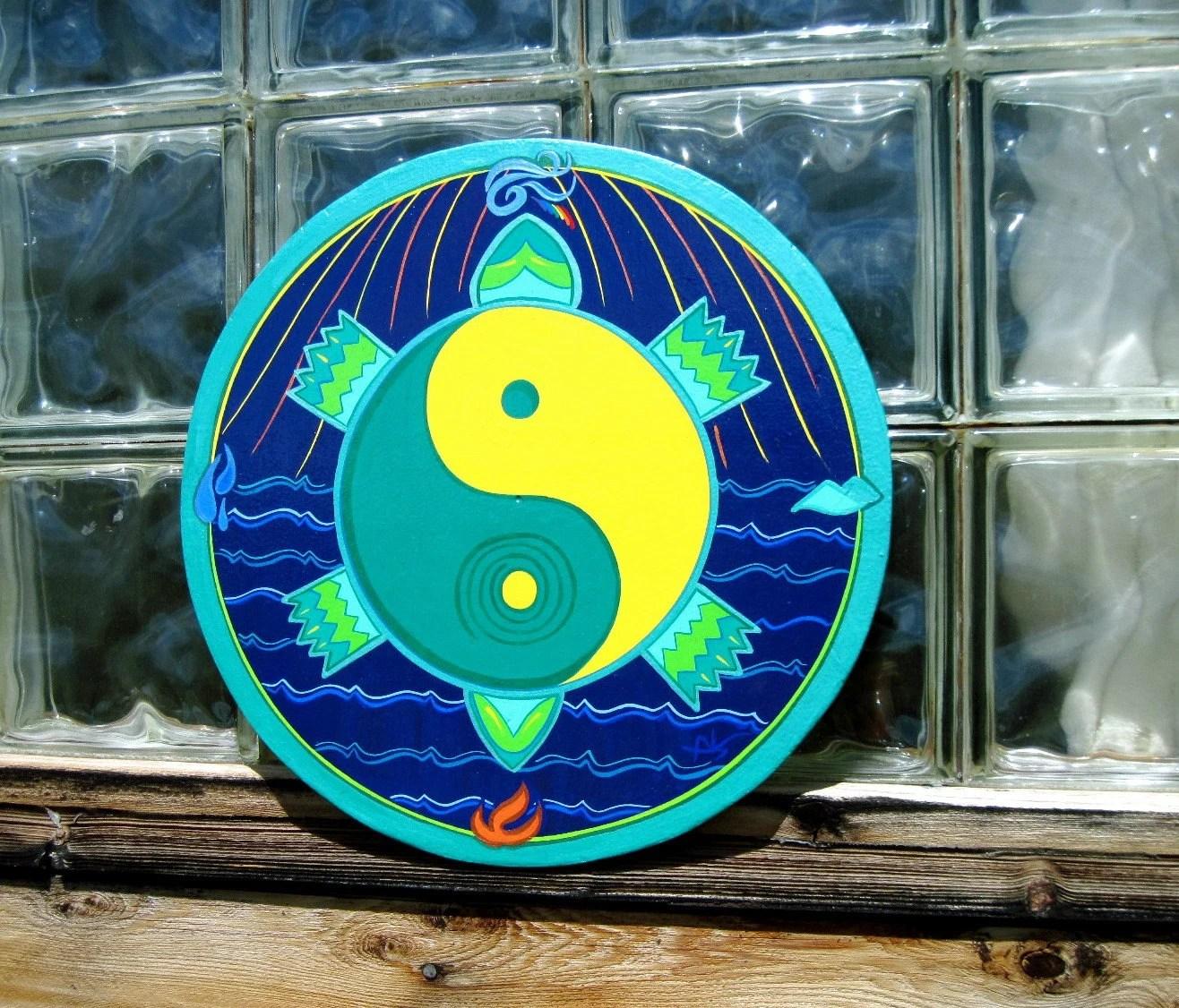 TURTLE - YIN YANG - Star Circle - Wall Art