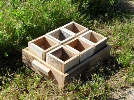 Individual Wooden Pots/ Herb Garden Pots With Wooden Tray EARTH FRIENDLY WOOD ECO GARDEN Small Wooden flower pots