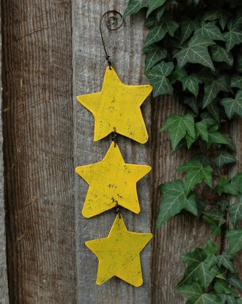 Yellow Metal Stars Garden Ornament