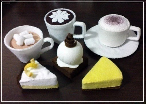 DIY Felt Cafe Drinks and Desserts - Cafe Mocha, Latte, Cappuccino, Lemon Meringue Pie, Cheesecake, Brownie (Patterns and Instructions via Email)