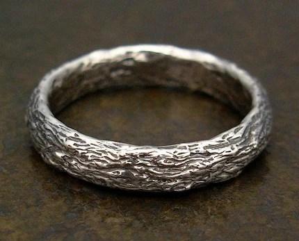 Tree Bark Ring - Sterling Silver