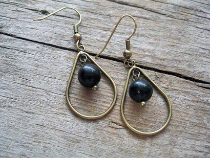 Antique Brass Gold and Black Bead Drop Handmade Earrings