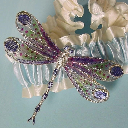 Gossamer  Winged DRAGONFLY garter HAND PAINTED a PETERENE original design